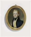 Karl von Saar, A young gentleman, in blue coat with black collar, ochre waistcoat with gold buttons, white shirt and black knotted cravat, fair hair and sideburns