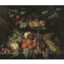Cornelis de Bryer, Cherries, grapes, apricots, figs, maize, and other fruit with a silver tazza on a table