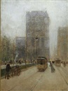 Paul Cornoyer, New York street scene