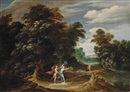 Alexander Keirincx, A wooded landscape with scenes from the story of Apollo and Daphne