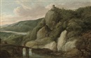 Attributed To Frans de Momper, An extensive river landscape with figures