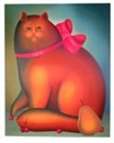 Igor Galanin, Red cat with pink bow and Girl with Rabbit (2 works)