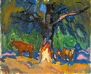Harold C. Davies, Cows under a sheltering tree