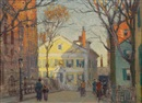Paul Cornoyer, New England street view, possibly Cape Ann