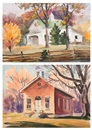 Ernest W. Spring, Fall landscape with barn (+ Meeting house, smllr; 2 works)