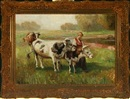 Rudolf Weber, Landscape with young woman and cows at a stream