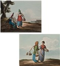 Karl Ivanovich Kollmann, A watercarrier and a washerwoman (+ Two peasant women in conversation; 2 works)