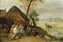 Attributed To Abraham Teniers, Peasants resting during the harvest