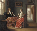 Samuel van Hoogstraten, An elegant couple playing cards