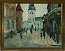 Anders Hune, Street scenery from Aalborg with Budolfi Church in the background