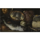 Cornelis Jacobsz. Delff, A still life with a fish, onions, cabbage, cheese and copper pots