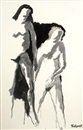Robert H. Colescott, Untitled - Two figures (study)