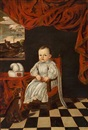 Attributed To Enrico (Giovanni E.) Waymer, A little prince or princess, in a white dress, and a dog