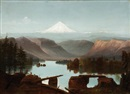 Attributed To Cleveland Rockwell, Landscape with Mount Hood in the background
