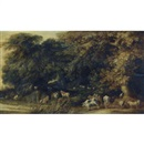 Kerstiaen de Keuninck, A wooded landscape with animals drinking at a stream