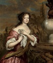 Gerard Hoet the Elder, Portrait of a lady in a pink dress and white chemise, by a classical fountain