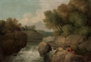 Anglo-Irish School (19), A rocky river landscape with two men reading on a rock