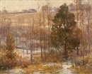 John Elwood Bundy, Winter landscape with distant farmhouse