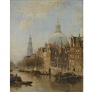 Cornelis Christiaan Dommelshuizen, A view of an Amsterdam canal, possibly the Nieuwezijds Voorburgwal, with the Nieuwe Lutherse Kerk and the Westertoren in the distance