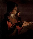 Studio Of Georges de Latour, A young boy with a pipe, blowing on a firebrand