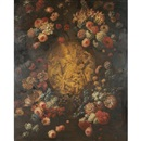 Attributed To Mario Nuzzi, Still life of flowers surrounding a carved relief