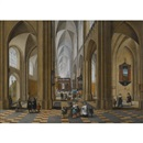 Frans Francken and Pieter Neefs the Elder, The interior of a Gothic cathedral with elegant figures strolling and others attending a mass