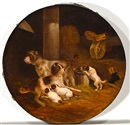 Joseph Heicke, Wirehaired fox terrier family in the stable