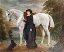 Jean Edouard Lacretelle, Portrait of a lady with a grey horse and a dog at her feet, a landscape beyond