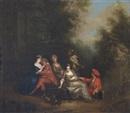 Attributed To Pierre-Antoine Quillard, Elegant company making merry in a park