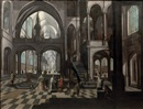 Attributed To Frans Francken and Pieter Neefs the Elder, The interior of a Gothic church with elegant figures conversing