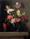 Jean-Michel Picart, Tulips, carnations, narcissi and other flowers in a glass vase, on a stone ledge