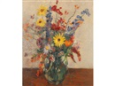 James Bolivar Manson, A still life of summer flowers in a glass jug on a table top