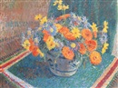 James Bolivar Manson, A still life of summer flowers in a pottery bowl on a table