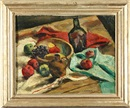 Samuel Brecher, Still life apples and green bottle