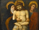 Follower Of Giovanni Bellini, The dead Christ supported by Mary and Saint John the Evangelist
