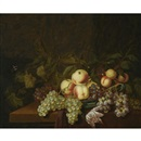 Bartholomeus Assteyn, Still life of peaches and grapes in a wan-li porcelain bowl, together with a butterfly, all arranged on a table partly draped with a red cloth