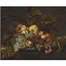 Bartholomeus Assteyn, A still life with grapes, peaches and other fruit in a porcelain dish on a partially-draped table