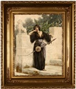 Giuseppe Aureli, Orientalist woman with a stringed instrument standing near a garden wall