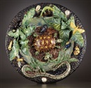 After Barbizet, French Palissy ware charger