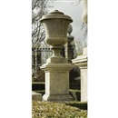 After Andrea Palladio, A limestone urn on rectangular pedestal (set of 7)