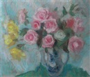 Lena Alexander, Roses in a blue and white vase
