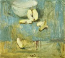 Hennie van der Vegt, Still life with a bowl and sliced apple