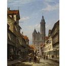 Cornelis Christiaan Dommelshuizen, Dutch street scene with cathedral