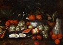 Attributed To Jan Pauwel Gillemans the Younger, Stilleben med ostron och frukter