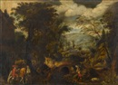 Manner Of Alexander Keirincx, Hunting party in an extensive landscape