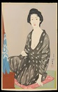 Goyo Hashiguchi, Natsui no onna - Woman in a summer kimono (+ Kesho no onna - Woman applying make-up, lrgr; 2 works)