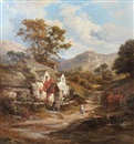 Edward Henry Holder, Stone cottage in a hilly landscape, with figures before on a country track