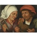 Circle Of Pieter Brueghel the Younger, The couple with the hen and the spindle