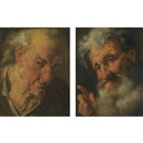 Attributed To Gaspare Traversi, A head study of an old man looking right (+ A head study of a bearded old man looking left; pair)