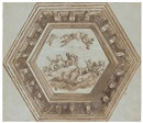 Attributed To Giovanni Mannozzi, Ceiling design of Jupiter crowning Justice (+ Alternative design for the cornice, verso)